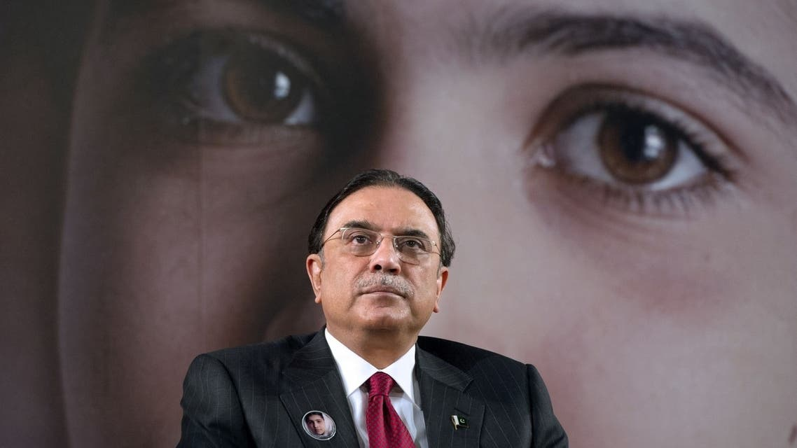 """In this file photograph taken on December 10, 2012, Pakistan President Asif Ali Zardari looks on during the advocacy event """"Stand Up for Malala"""" at UNESCO headquarters in Paris. (AFP)"""