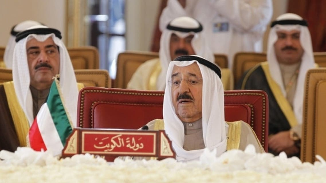 Emir of Kuwait Sheikh Sabah Al Ahmad (front) attends the closing session of the GCC summit, in Sakhir Airport, south of Manama, Dec. 25, 2012. (photo by REUTERS