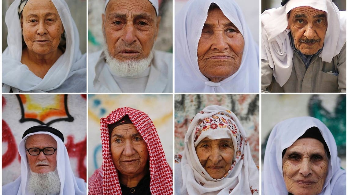 A combination picture shows portraits of Palestinian refugees, who witnessed Nakba, as they pose for photographs in Jabalya refugee camp in the northern Gaza Strip May 14, 2013. (Reuters)