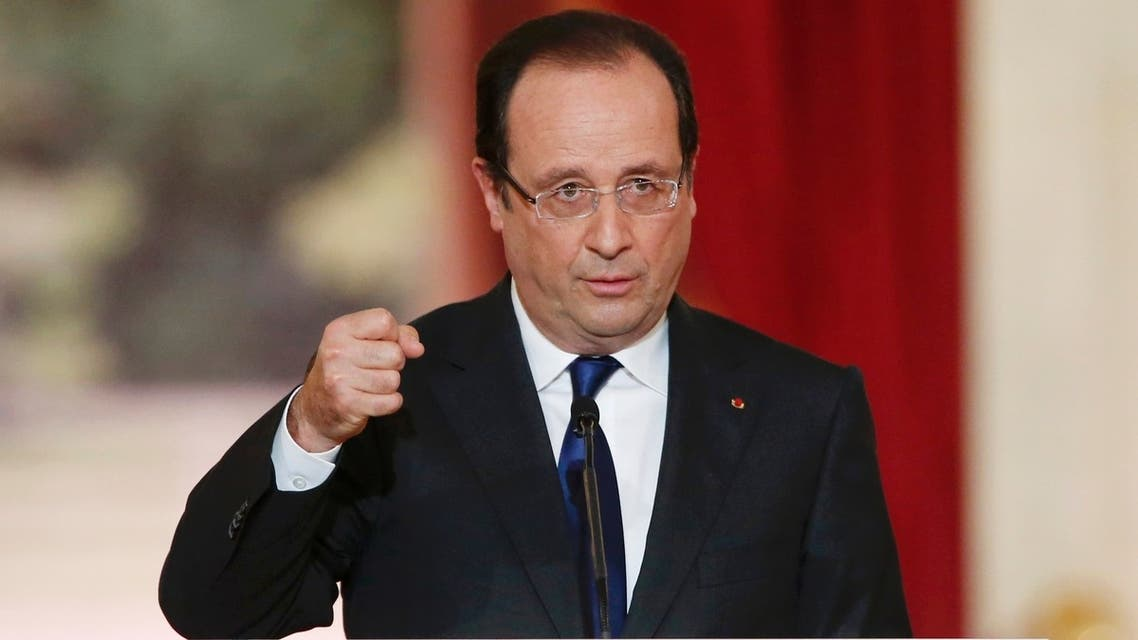 French President Francois Hollande replies to questions after his speech at the Elysee Palace in Paris May 16, 2013. (Reuters)