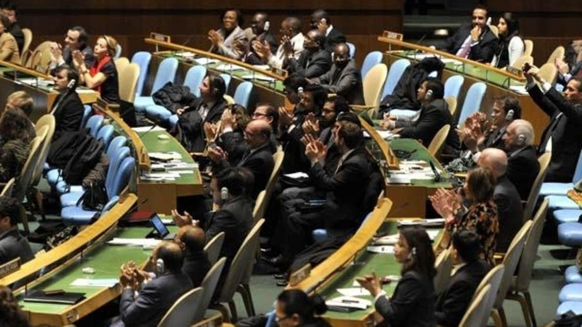 Delegates to the United Nations General Assembly April 2, 2013 applaud the passage of the first UN treaty regulating the international arms trade.(File photo: AFP)