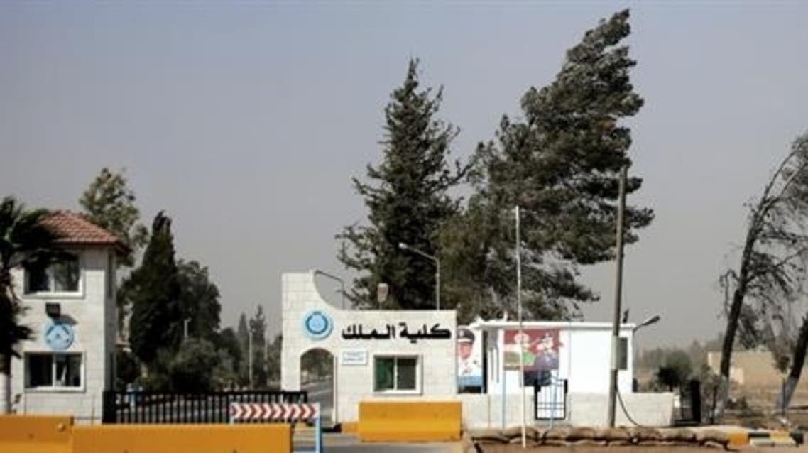 Entrance of King Hussein Air Base in Mafraq, Jordan, 70 kilometers north of Amman, Jordan.