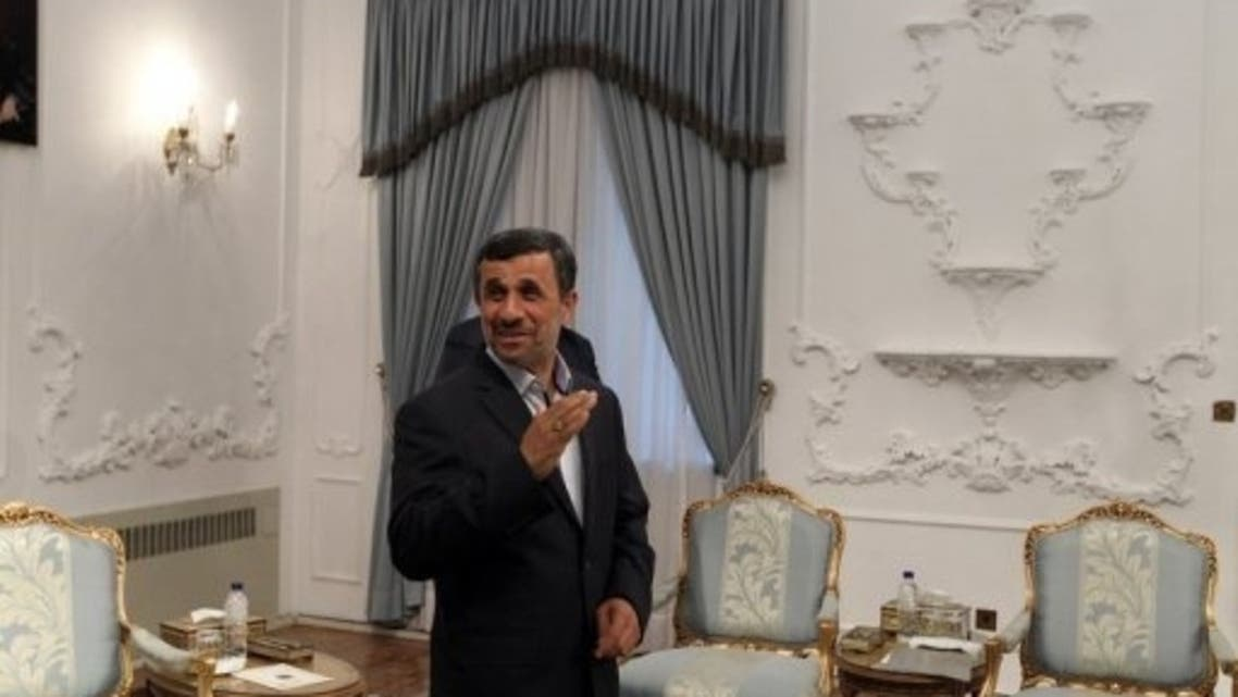 Iranian President Mahmoud Ahmadinejad (C) is pictured in Tehran on May 4, 2013.