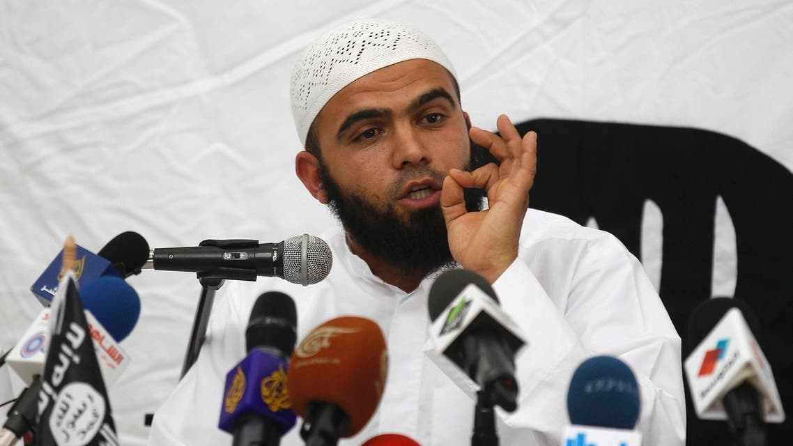Saif Eddine Erais, the spokesman for Tunisia's hardline Salafist group Ansar al-Sharia, speaks during a news conference at the Errahma mosque in Tunis, May 16, 2013. (Reuters)