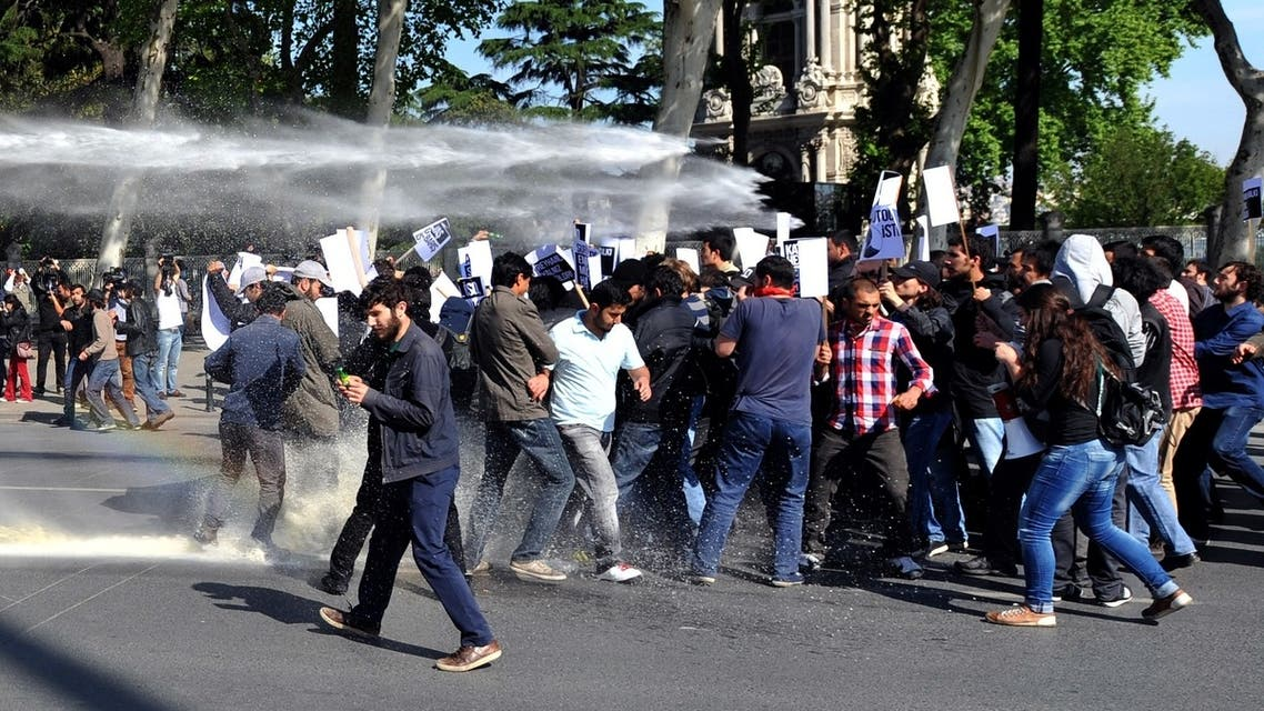 Riot police use water cannon against students in Istanbul on May 16, 2013 during a protest against government policies they say resulted in last weekend's deadly twin bombings. (AFP)