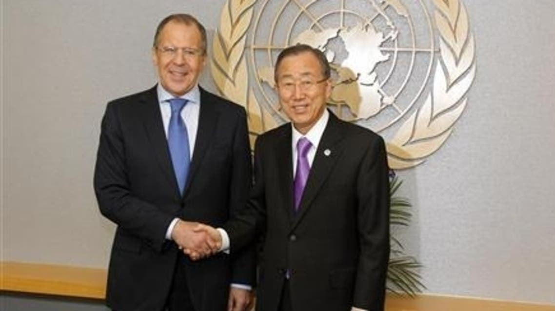 U.N. Secretary-General Ban Ki-moon shakes hands with Russia's Foreign Minister Sergei Lavrov (L) as they pose for a photograph at the U.N. headquarters in New York March 12, 2012.