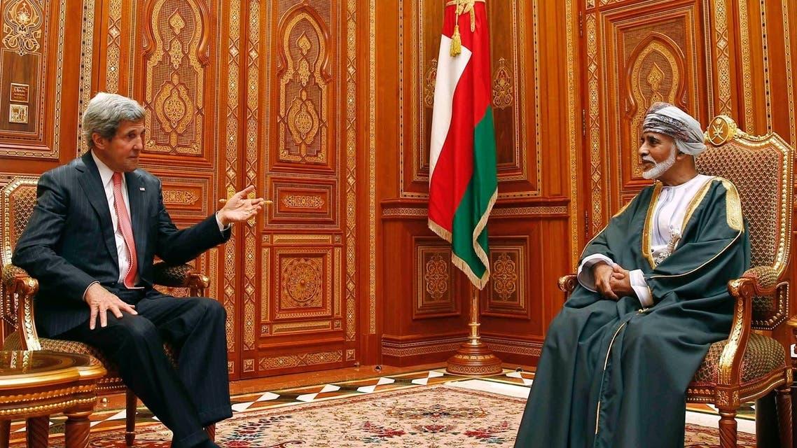 John Kerry meets with Sultan Qaboos bin Said in Oman, where he praised a tentative $2.1bn defense deal. (REUTERS)