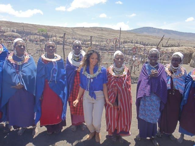 Moharrak in Massai Village in Tanzania after climbing Kilimanjaro. (Photo via Raha Moharrak)