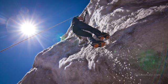 Moharrak learns how to ice climb for the first time. (Photo via Raha Moharrak)