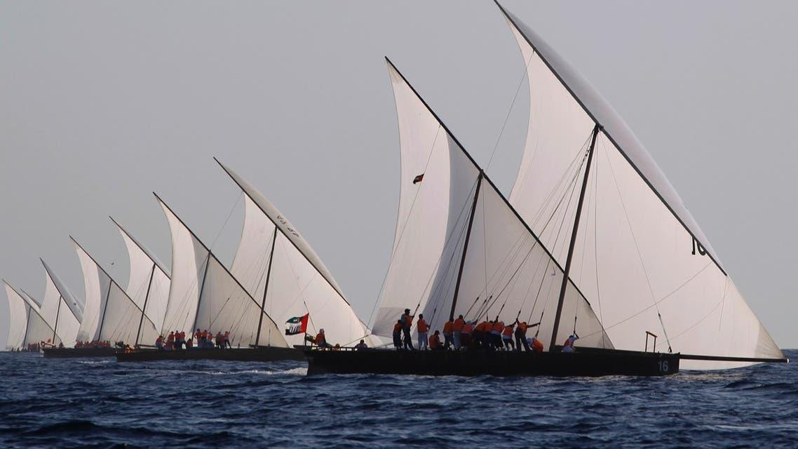 Sailors compete in Dubai dhow sailing race