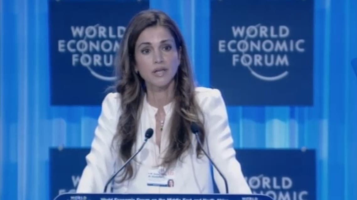 Queen Rania speaking at the World Economic Forum on the Middle East and North Africa in Jordan. (Image courtesy: WEF)