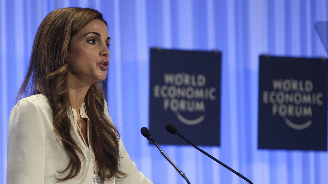 Jordan's Queen Rania speaks at the World Economic Forum on the Middle East and North Africa in Jordan. (AFP)
