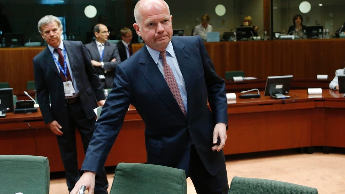 Britain's Foreign Secretary William Hague arrives at an European Union foreign ministers meeting in Brussels May 27, 2013. (Reuters)