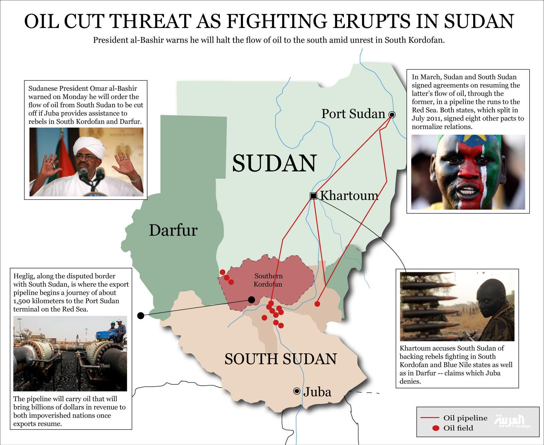 Info graphic: Oil cut threat as fighting erupts in Sudan (Design by Farwa Rizwan / Al Arabiya English)