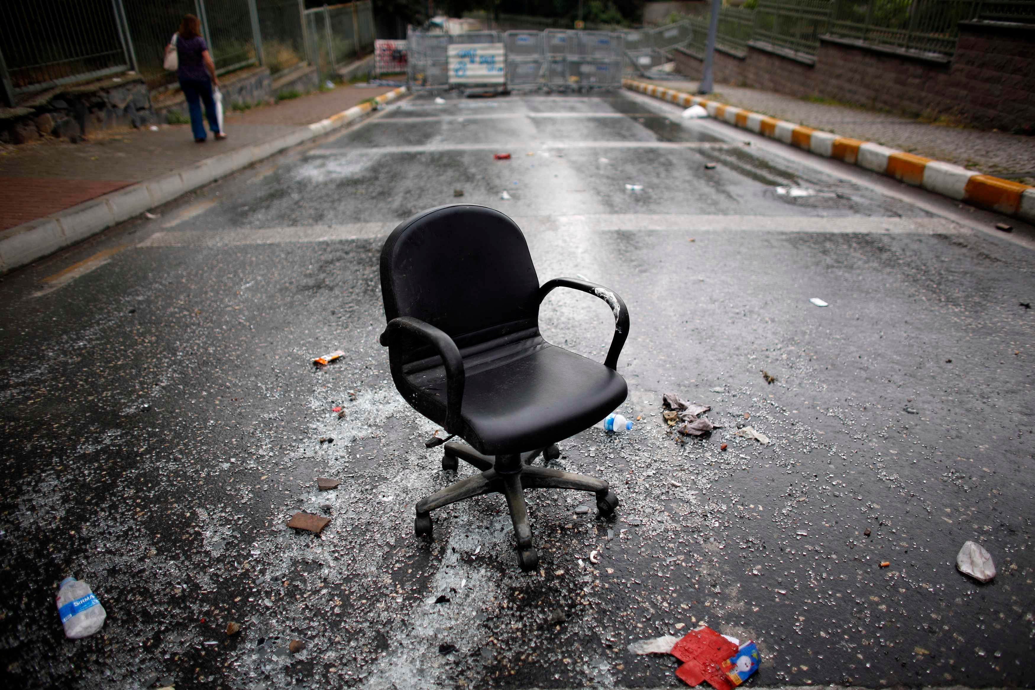A chair is seen on a road leading to Taksim Square where police and anti-government protesters clashed in central Istanbul June 2, 2013. (Reuters)