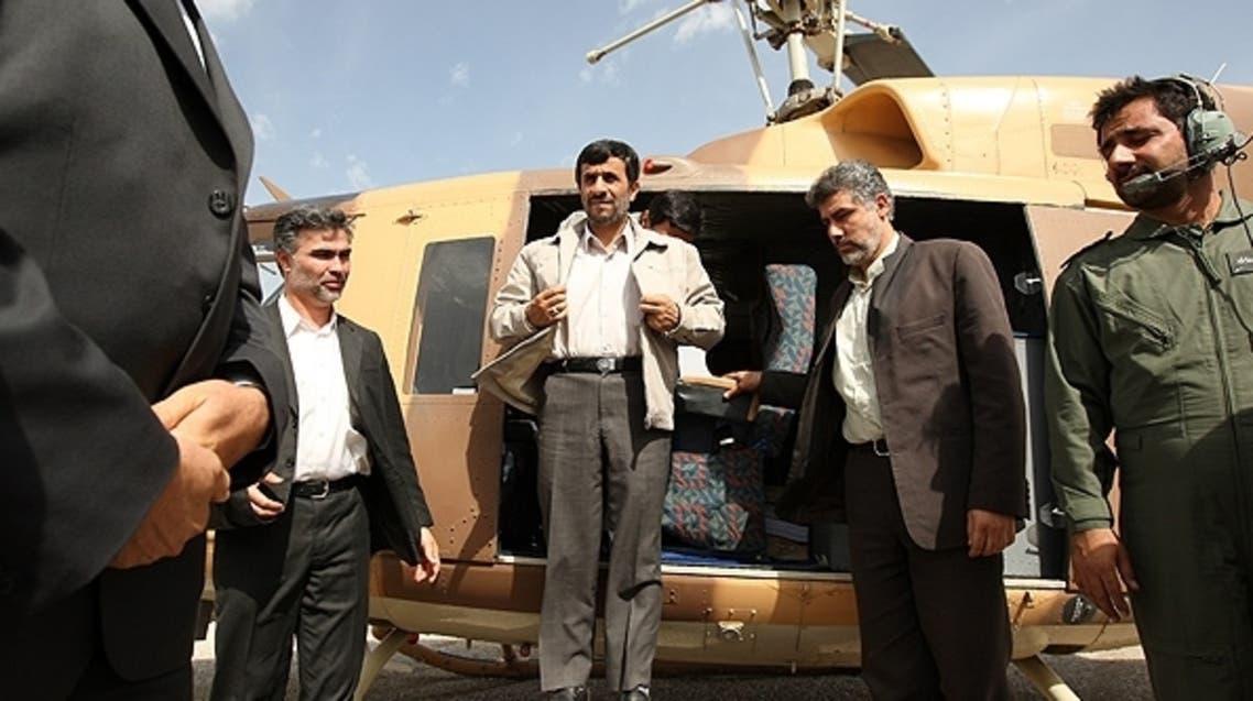 Iranian President Dr. Ahmadinejad arrives from a helicopter flight. (File photo: courtesy: FARS)