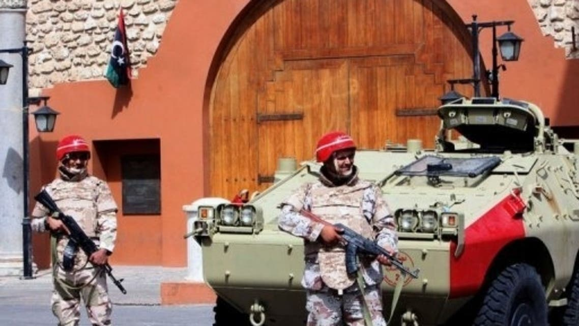 Libyan National Army's soldiers patrol on the Martyrs square on May 3, 2013 in Tripoli, Libya (AFP)
