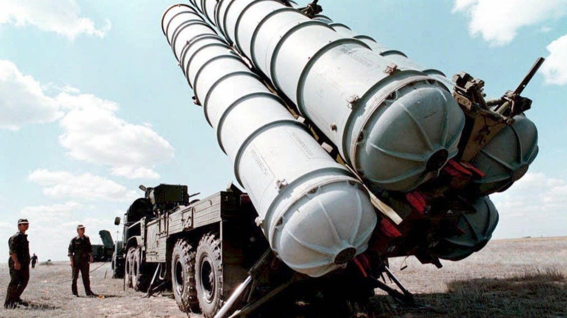 A picture taken in 1996 shows Russian SS300 air-defence missiles being prepared to be launched at a military training ground in Russia.