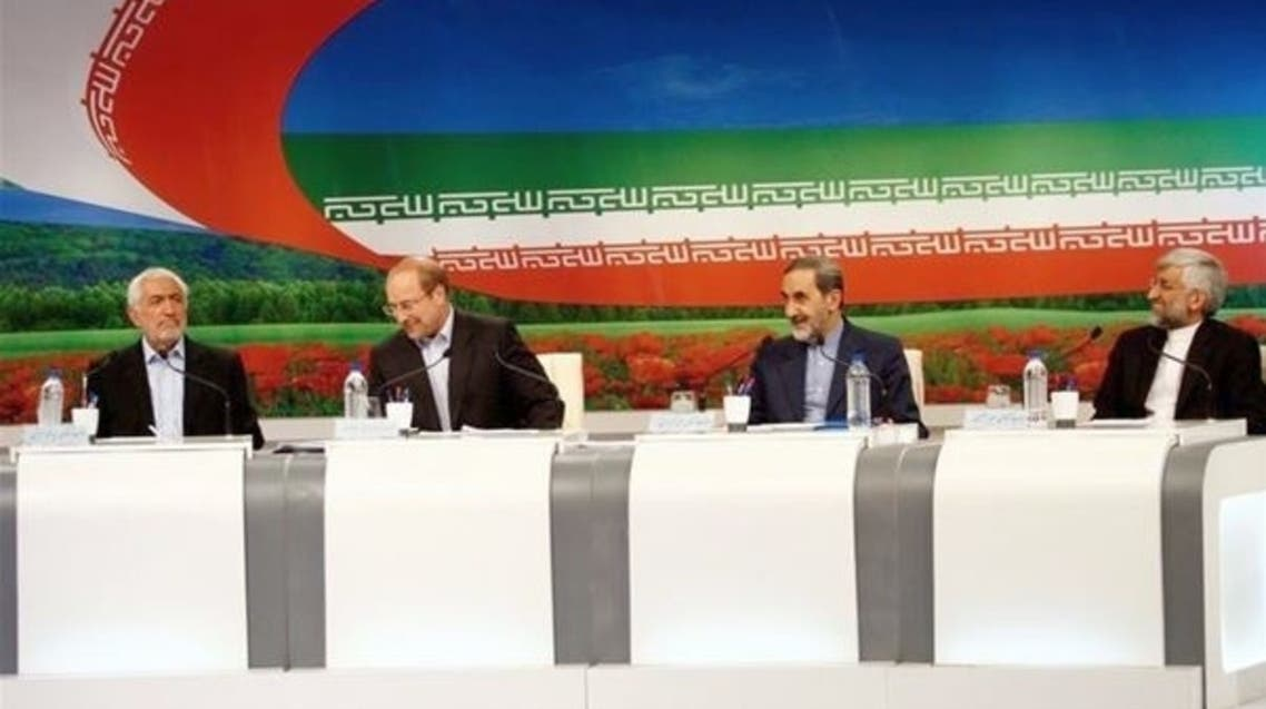 Iranian presidential candidates attend a live debate on state TV in Tehran on May 31, 2013. (AF)