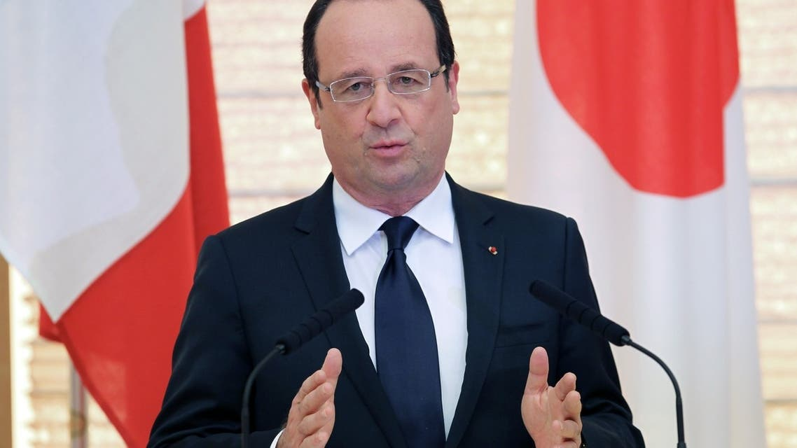 French President Francois Hollande speaks during a joint press conference with Japanese Prime Minister Shinzo Abe. AFP