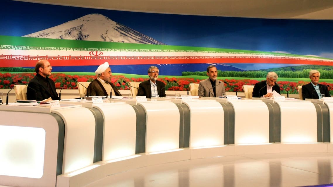 Iranian presidential candidates attend a live debate on state TV in Tehran on June 5, 2013. (AFP)