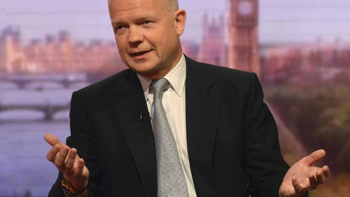 Britain's Foreign Secretary William Hague speaks on the BBC's Andrew Marr Show, presented by Sophie Raworth, in this photograph provided by the BBC, in London June 9, 2013. REUTERS