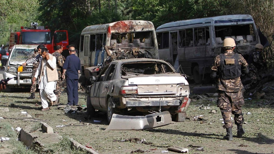 A bomb exploded on Tuesday near minibuses taking Supreme Court staff home in the Afghan capital AFP