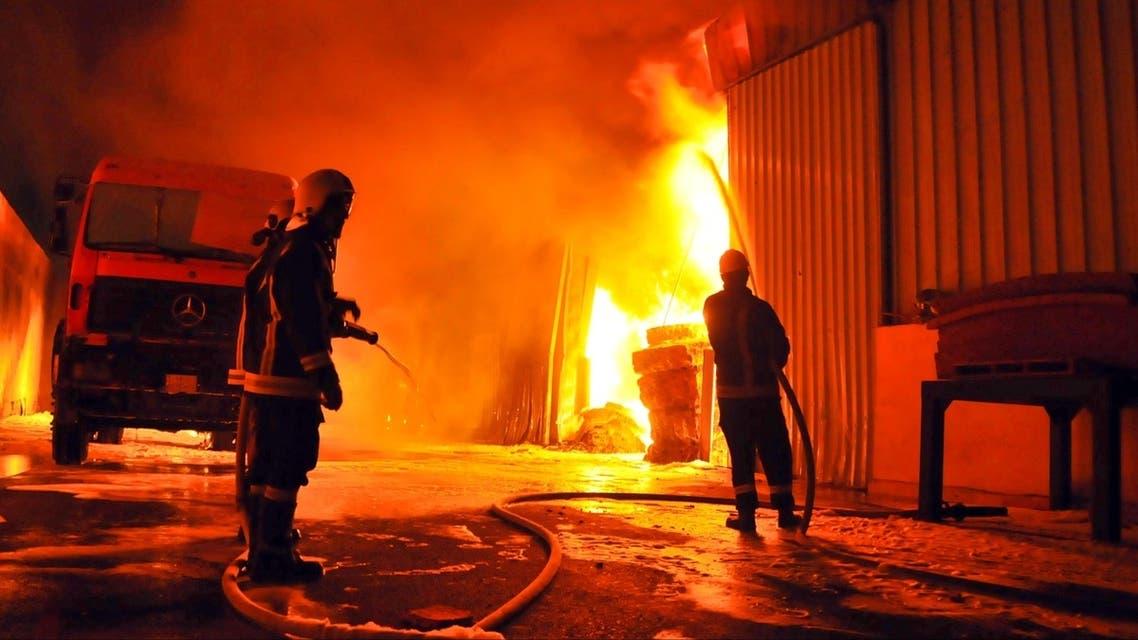حريق مصنع الاسفنج بجدة