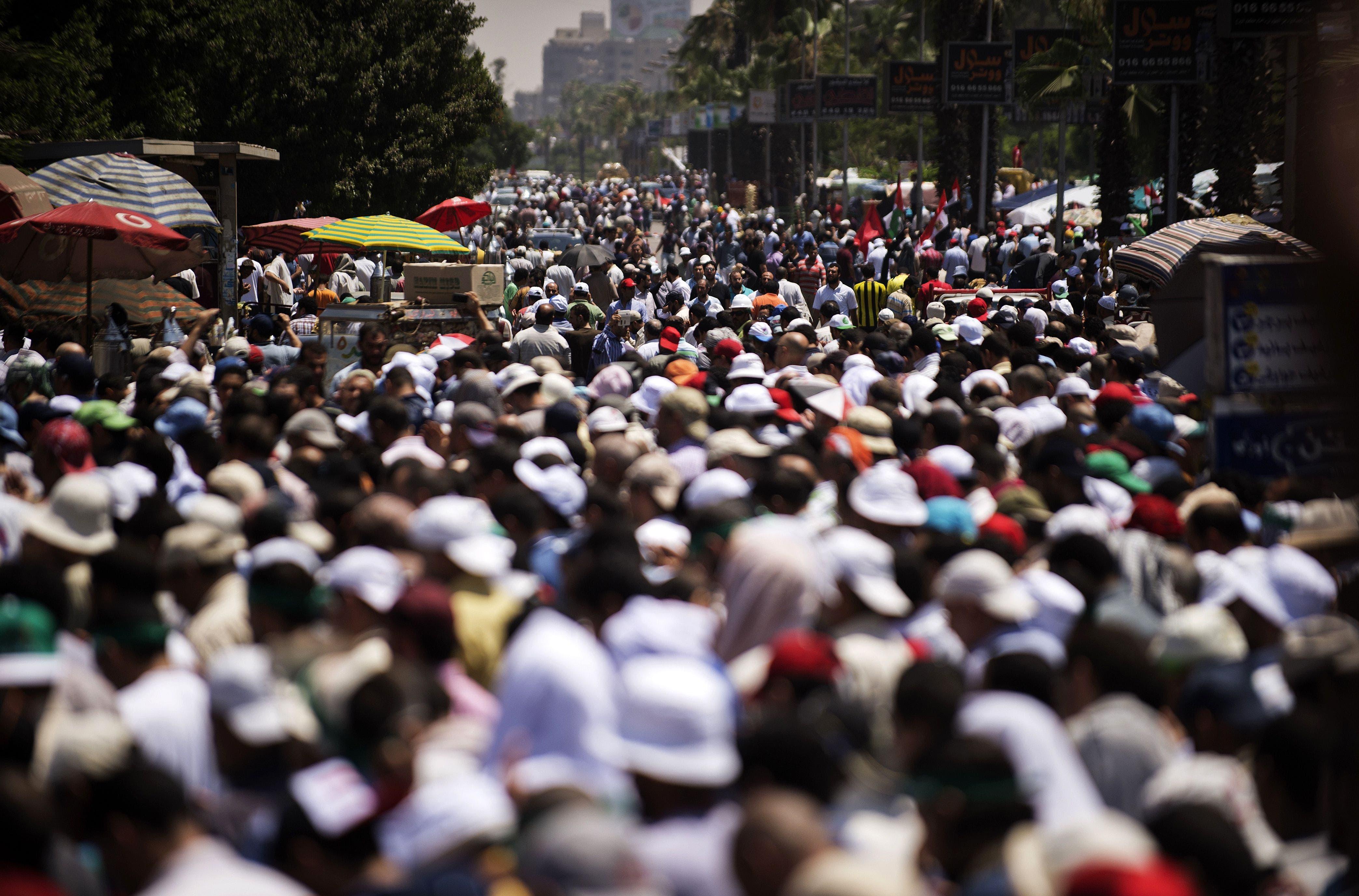 Egyptian protestors on Cairo streets