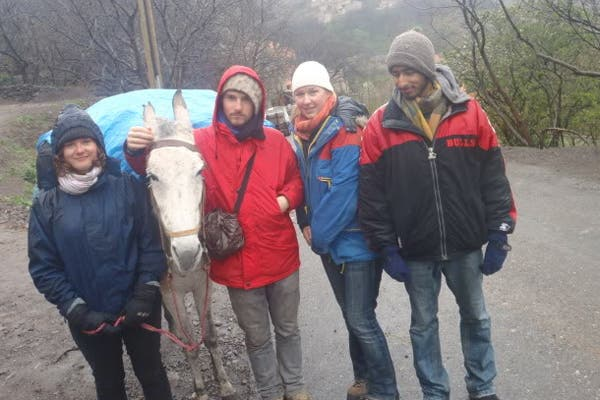 Andrew and his friends hiking the Atlas mountain chains to Mount Toubkal. (Exclusive to Al Arabiya)