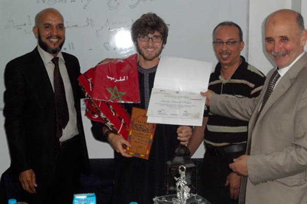 Andrew receiving his certificate for completing his Arabic course in El Jadida, Morocco. (Exclusive to Al Arabiya)