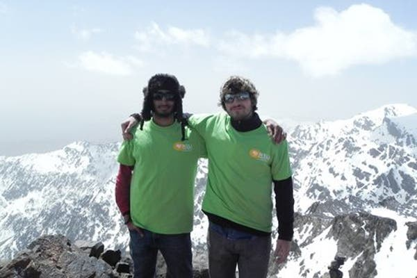 Andrew with his friend Junaid on the summit of Mount Toubkal. (Exclusive to Al Arabiya)