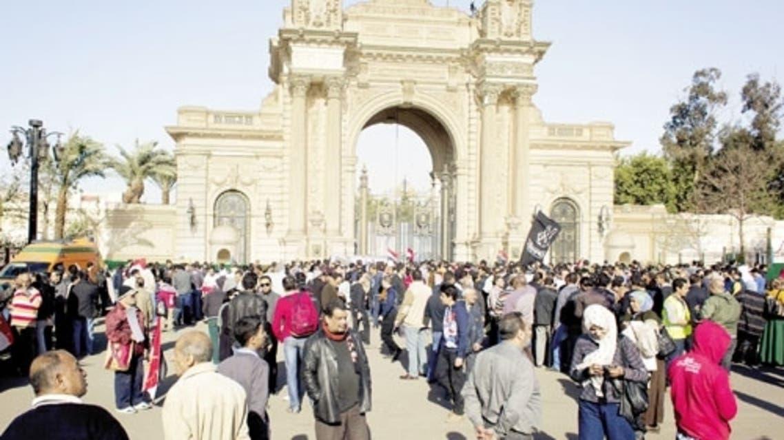 مظاهرات أمام قصر القبة