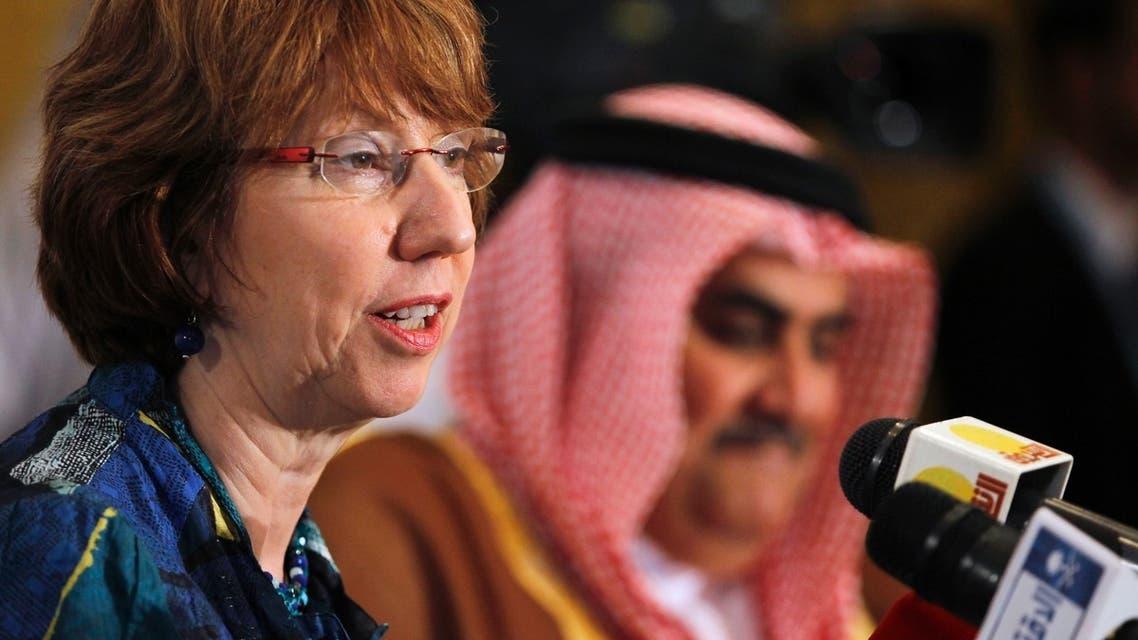 European Union foreign policy chief Catherine Ashton (L) speaks as Bahraini Foreign Minister Sheikh Khalid bin Ahmed al-Khalifa looks on during a news briefing