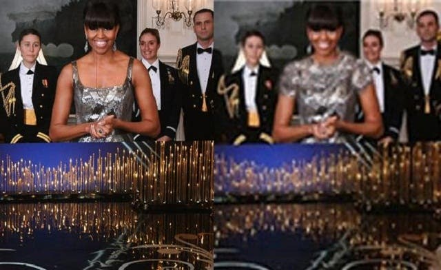 Now you see it, now you don't: What Michelle Obama wore at the Oscars (left), and what Iranians were made to think she wore (right). (AFP)