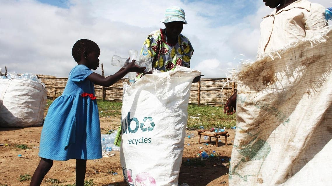 Recycling plastic bottles in South Sudan