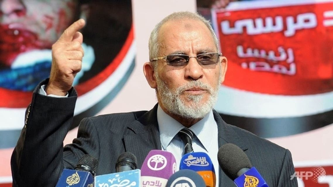 Muslim Brotherhood leader Mohammad Badie speaking during a press conference at the party's headquarters in Cairo. (File Photo: AFP)