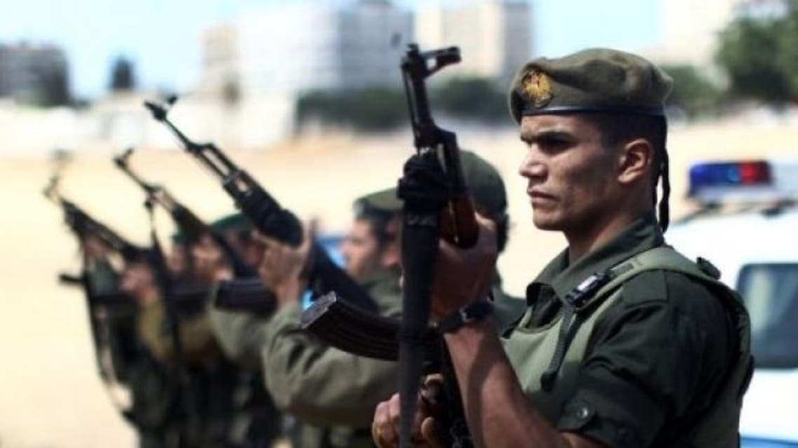 Palestinian Hamas security forces stand guard in Gaza City on April 4, 2013
