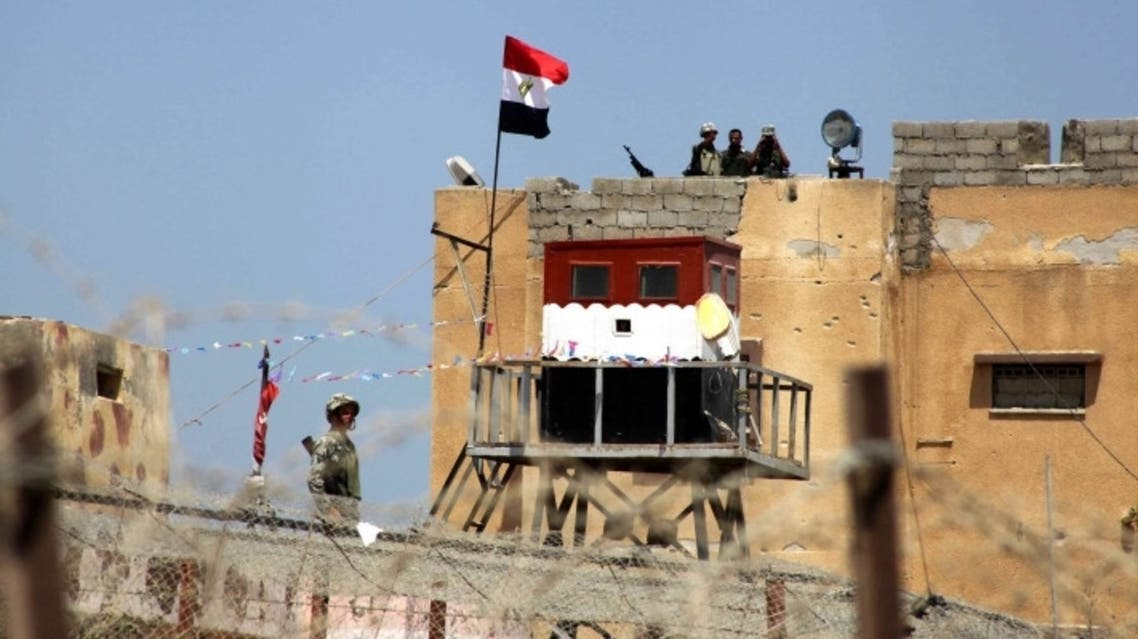 Egyptian soldiers guarding the Egypt-Gaza borders
