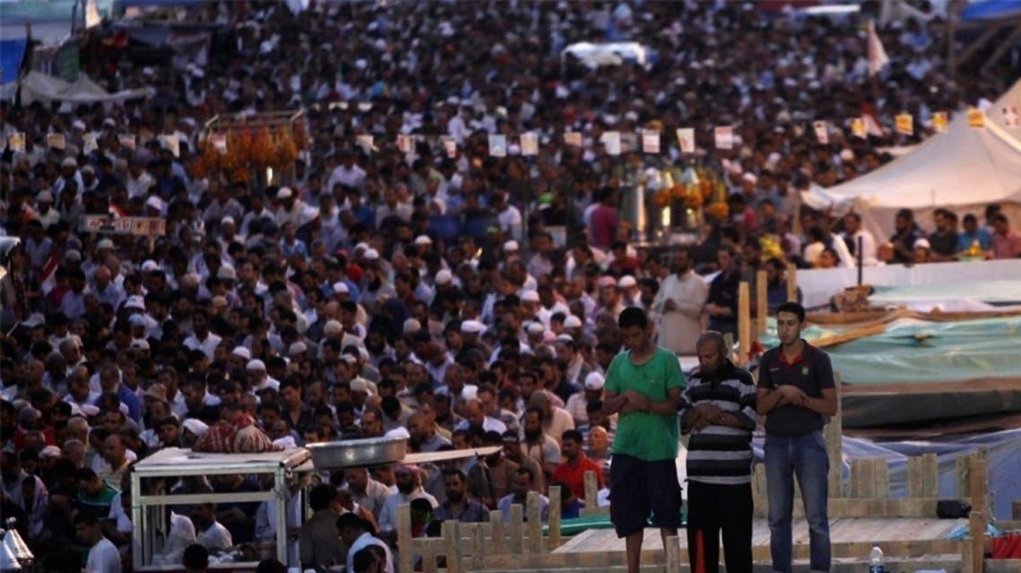 مؤيدو الرئيس المعزول محمد مرسي في رابعة العدوية