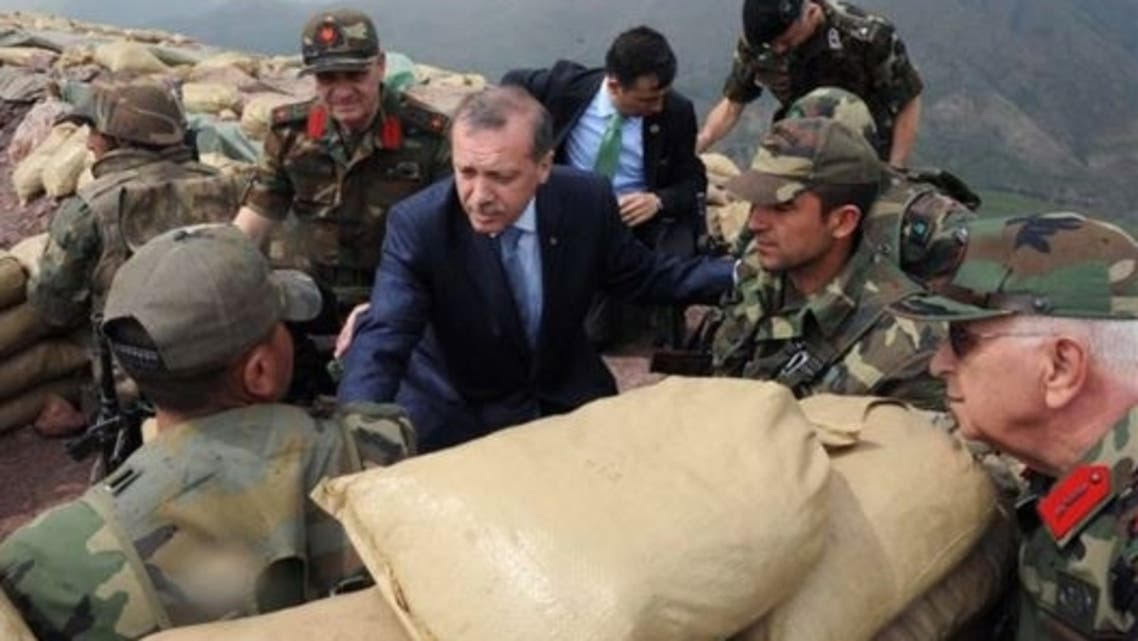 Turkish Prime Minister Erdogan meeting with troops along the Iraqi border June 2010. (File photo: AFP)