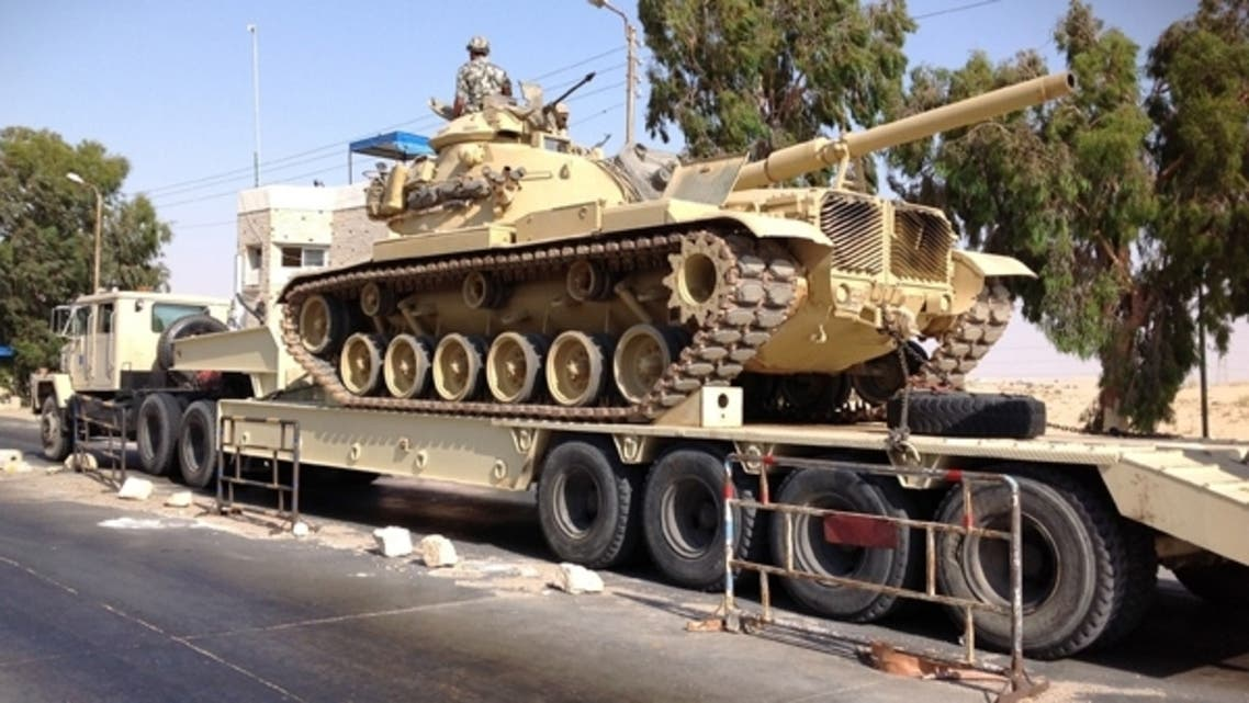 An Egyptian military tank is deployed in the northern Sinai town of Al-Arish on July 16, 2013. (Reuters)
