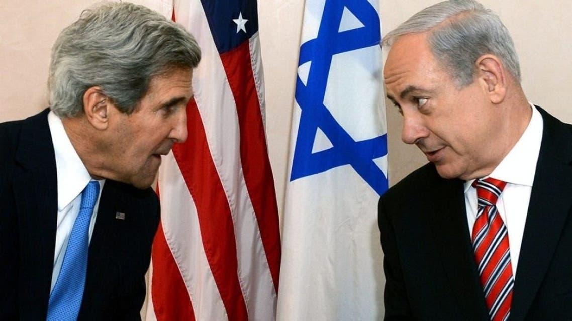 U.S. Secretary of State John Kerry (left) meets Israel's Prime Minister Benjamin Netanyahu in Jerusalem on April 9.