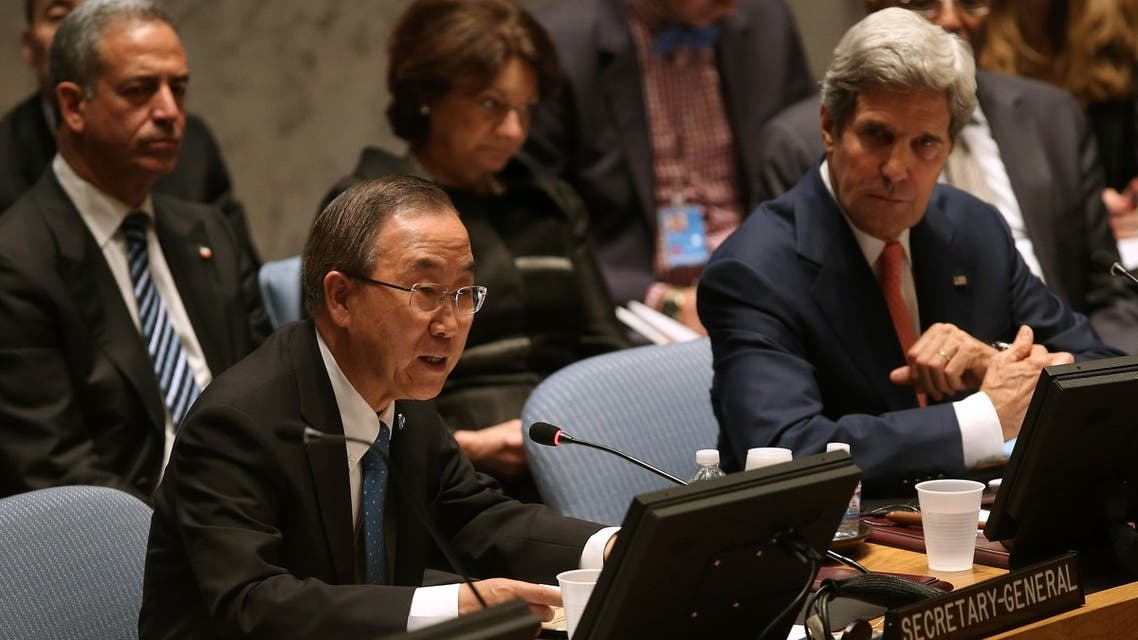 U.N. chief Ban Ki-moon speaks while sitting next to U.S. Secretary of State John Kerry at a Security Council meeting on July 25, 2013 in New York City. (AFP)