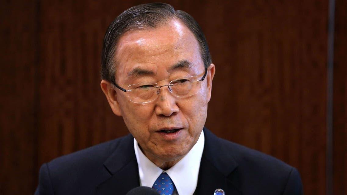 U.N. CHIEF Ban Ki-moon speaks before a meeting of the U.N. Security Council on July 25, 2013 in New York City. (AFP)