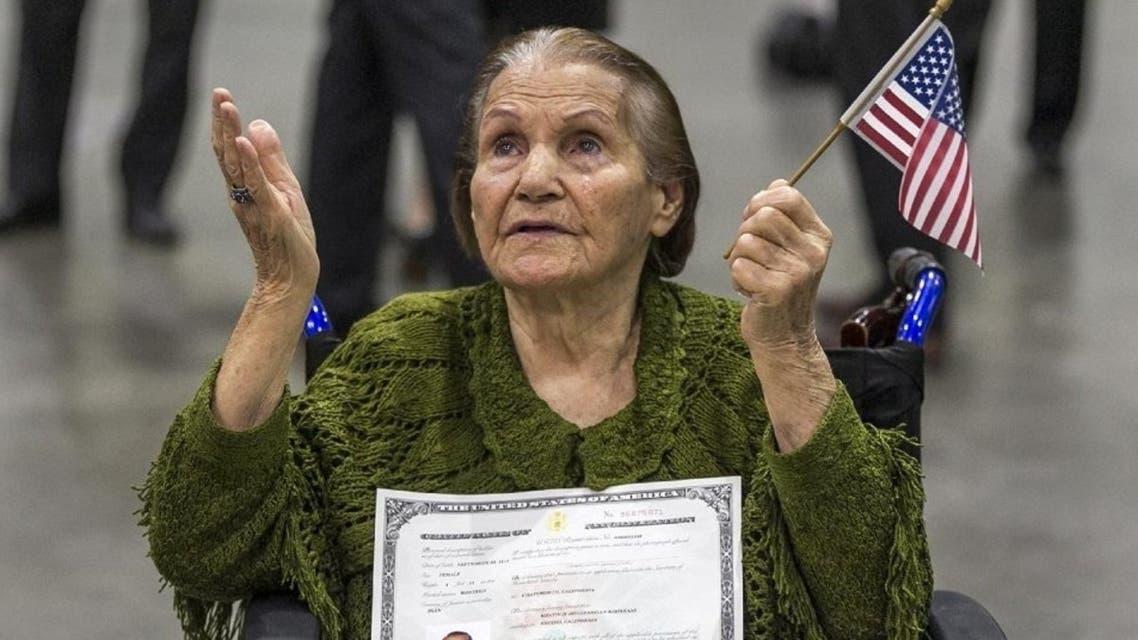 """I'm shaking because I'm so happy,"" 99-year-old Khatoun Khoykani said as she wiped away tears of joy. (Photo courtesy: AP)"