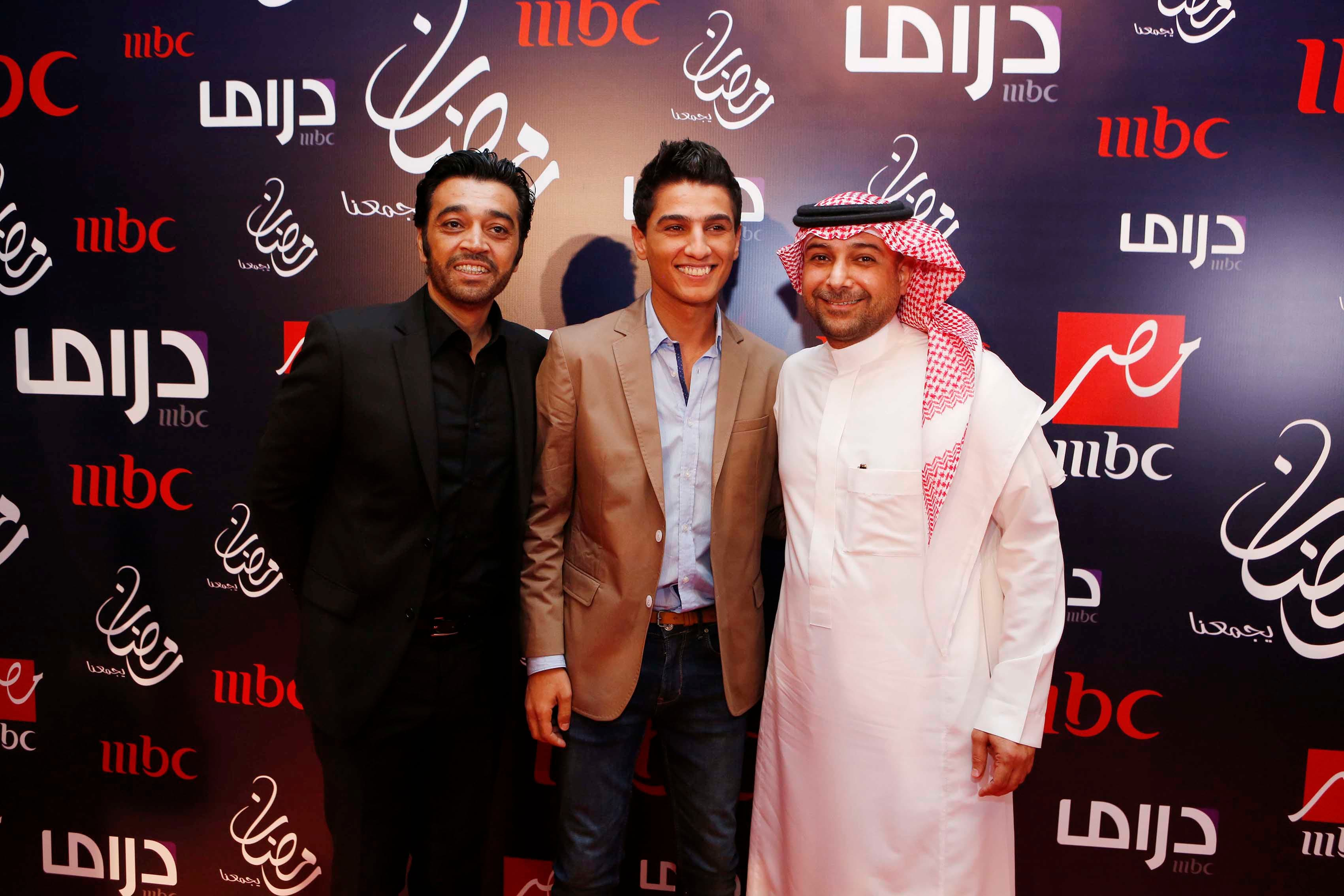 Mohammed Al Mulhem (L) with Arab Idol winner Mohammed Assaf (C) and Essam Kamal (R)