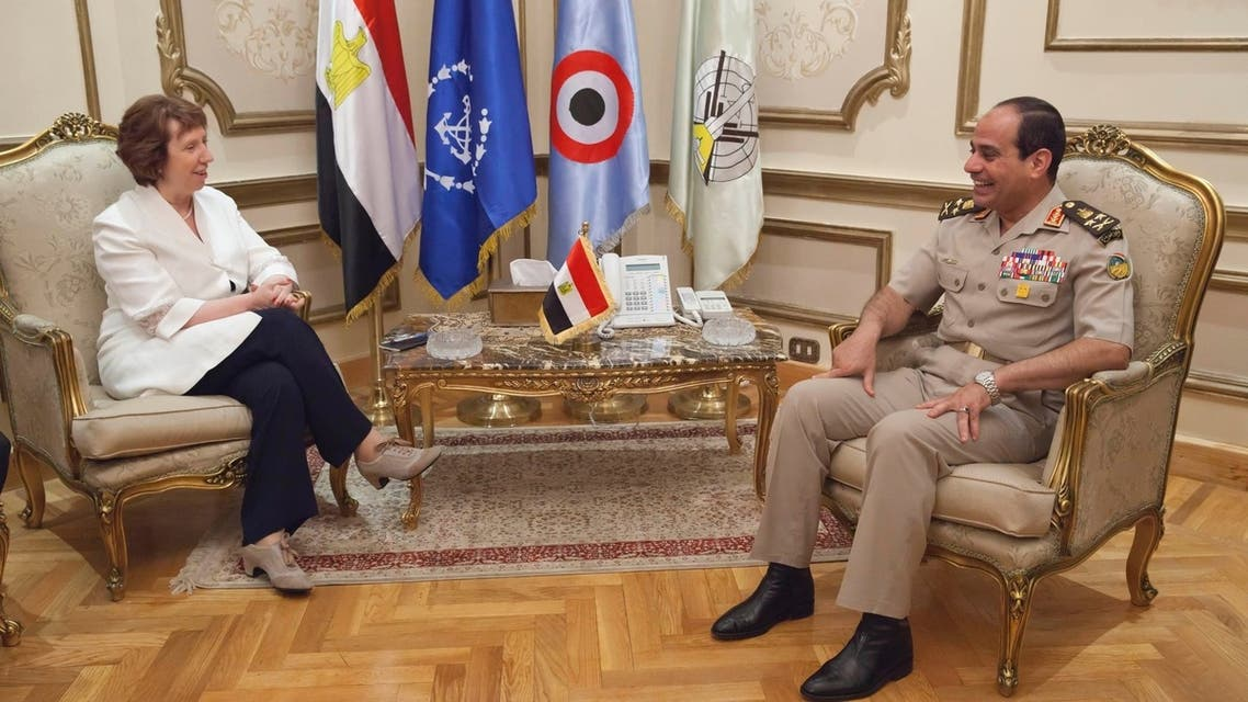 Egyptian army chief General Abdel Fattah al-Sisi (R) meets with EU foreign policy chief Catherine Ashton at the defense ministry headquarters in Cairo in this handout picture dated July 29, 2013. (Reuters)