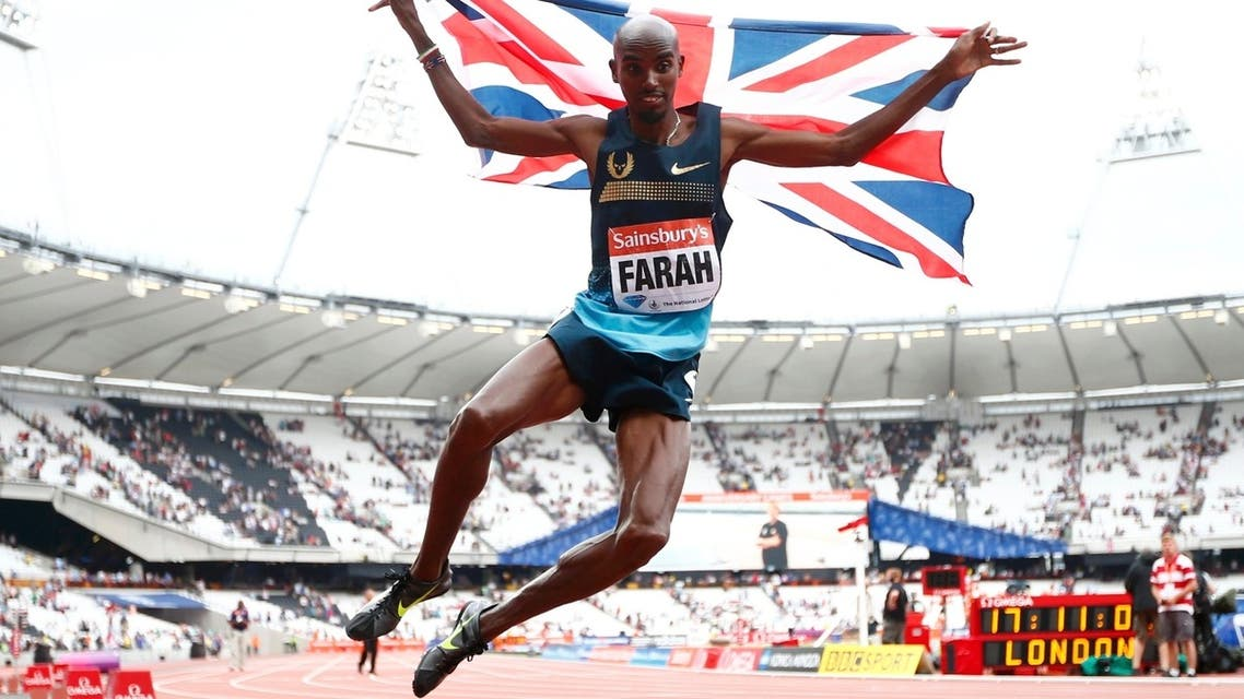 Mo Farah of Britain clicks his heels after winning the men's 3000m at the London Diamond League 'Anniversary Games' athletics meeting at the Olympic Stadium, in east London July 27, 2013. (Reuters)