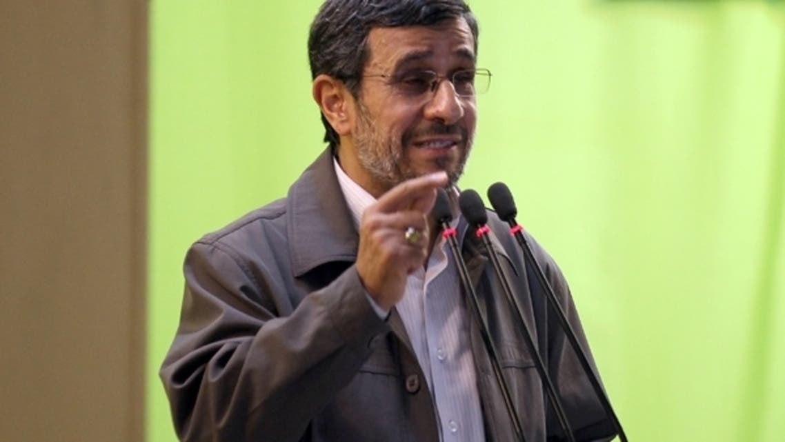 Iranian President Mahmoud Ahmadinejad adresses his weekly Friday prayer sermon at Tehran University on August 2, 2013 as Iran marks al-Quds (Jerusalem) International Day. (AFP)